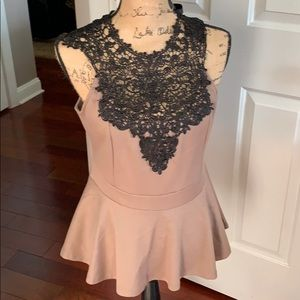 Peplum top with lace insert